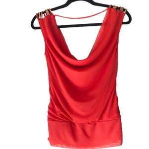 Juniors XOXO Orange Dressy Blouse Size L